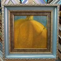Двойная рамка для картины маслом №85 голубой + №30 бронза